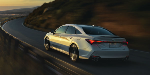 Rear view of silver 2020 Toyota Avalon