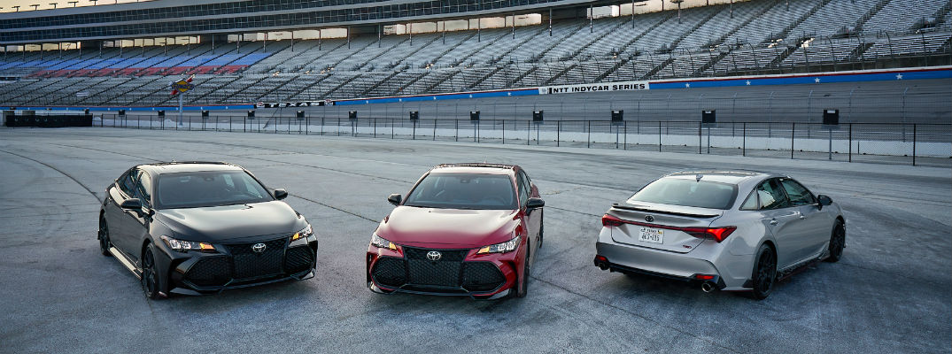 Lineup of 2020 Toyota Camry TRD and Avalon TRD vehicles