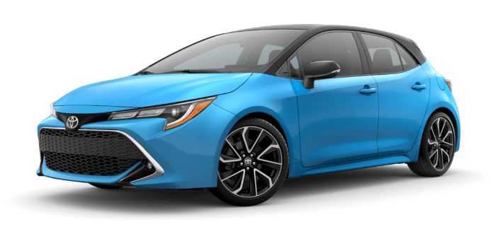2020 Toyota Corolla Hatchback in Blue Flame/Midnight Black Metallic Roof