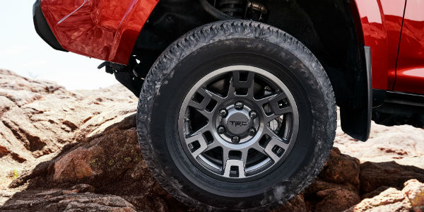 Closeup of wheel on red 2020 Toyota 4Runner Venture Edition