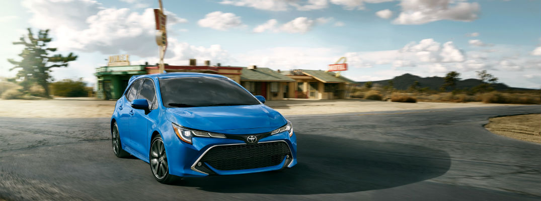 Blue 2020 Toyota Corolla Hatchback Driving