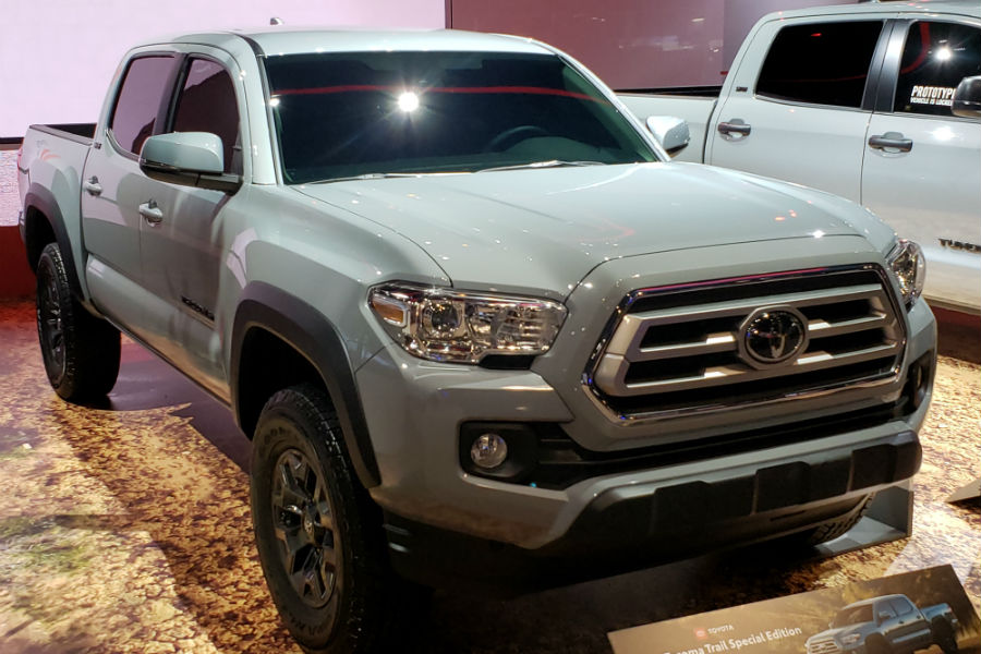 A front right quarter photo of the 2021 Toyota Tacoma Trail Edition at the Chicago Auto Show.