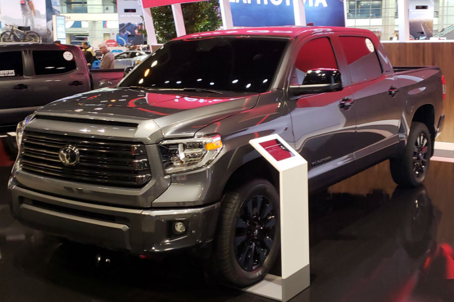 A front left quarter photo of the 2021 Toyota Tundra Nightshade Edition.