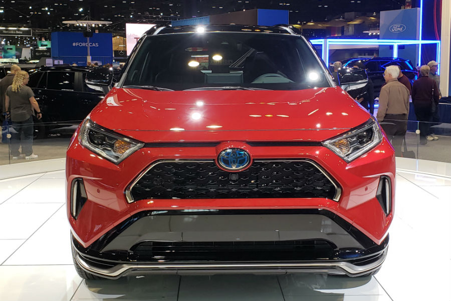 A head-on photo of the 2021 Toyota RAV4 Prime at the Chicago Auto Show.
