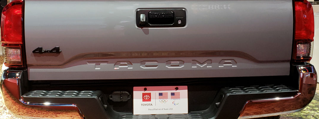A photo of the tailgate on the 2021 Toyota Tacoma Trail.