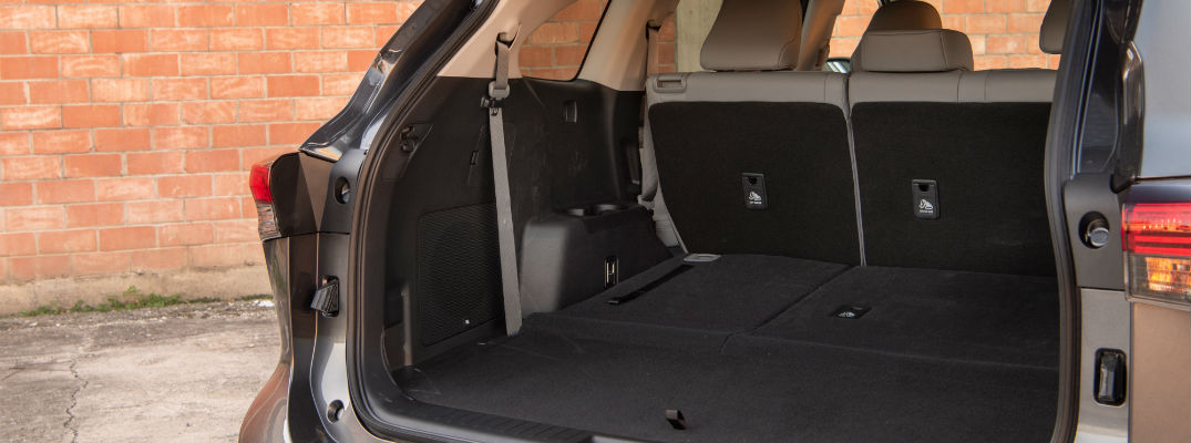 A photo of the cargo area in the back of the 2020 Toyota Highlander.
