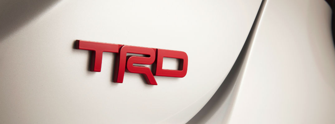A photo of the TRD badge worn by some Toyota TRD models.