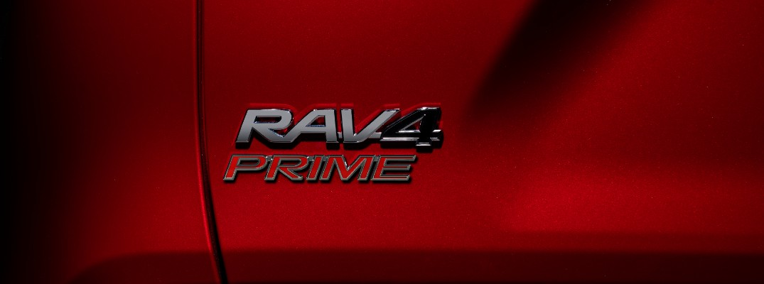 A photo of the RAV4 Prime badge on the back of the 2021 Toyota RAV4 Prime.