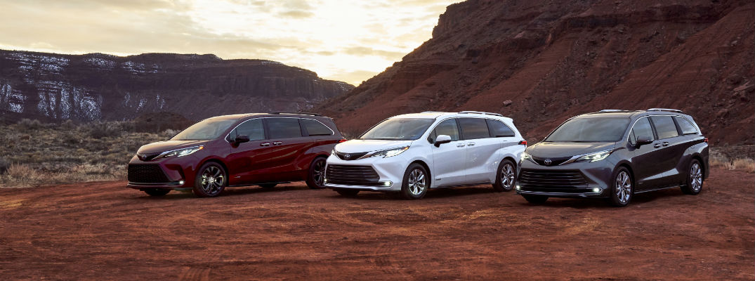 A photo of three 2021 Toyota Sienna models lined up side-by-side