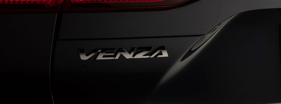 A photo of the Venza badge used on the back of the 2021 Toyota Venza.