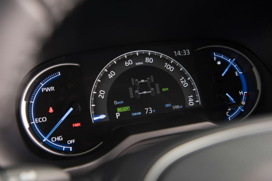 A photo of the center gauge cluster used in the 2020 Toyota RAV4 Hybrid