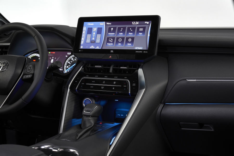 A photo of the infotainment in the 2021 Toyota Venza.