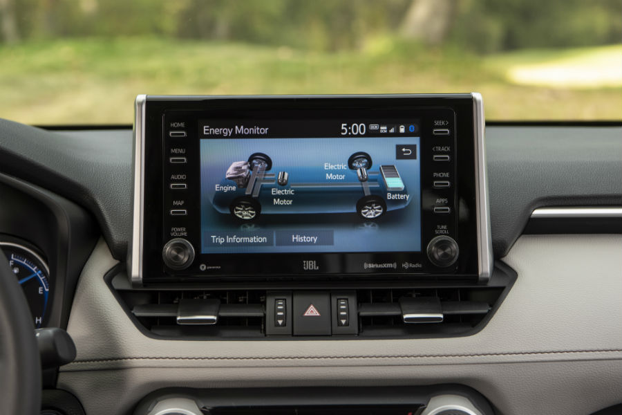 A photo of the center touchscreen displaying the hybrid system monitor in the 2020 Toyota RAV4 Hybrid.