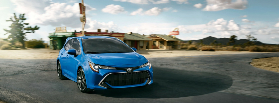 2019 Toyota Corolla Hatchback Front View Of Blue Flame Exterior O
