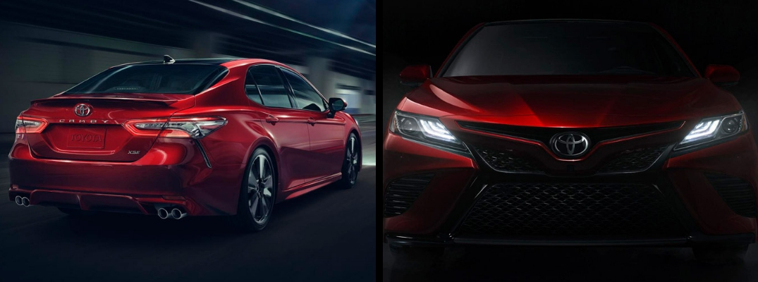 2018 Toyota Camry in Red Exterior - Front and Rear Views