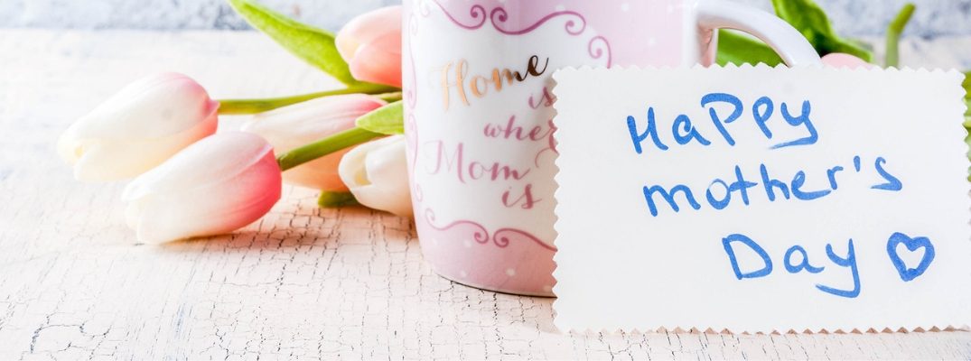 Closeup of mug and Happy Mother's Day card