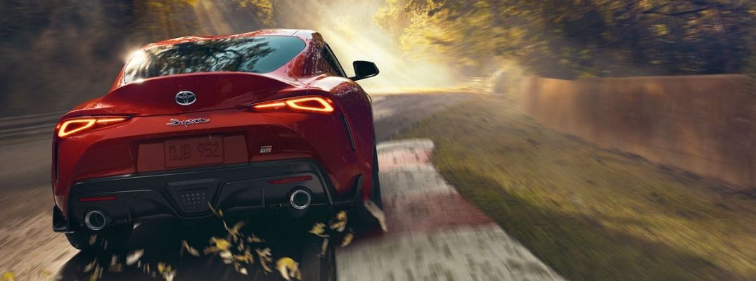 Rear view of red 2020 Toyota Supra