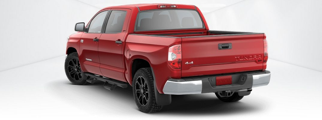 Rear view of red Toyota Tundra XP Gunner