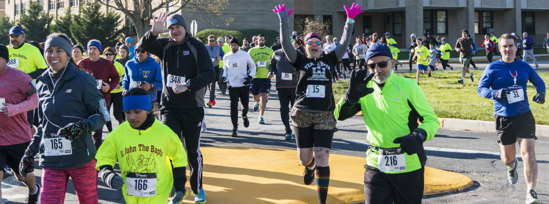 Group of runners participating in holiday run