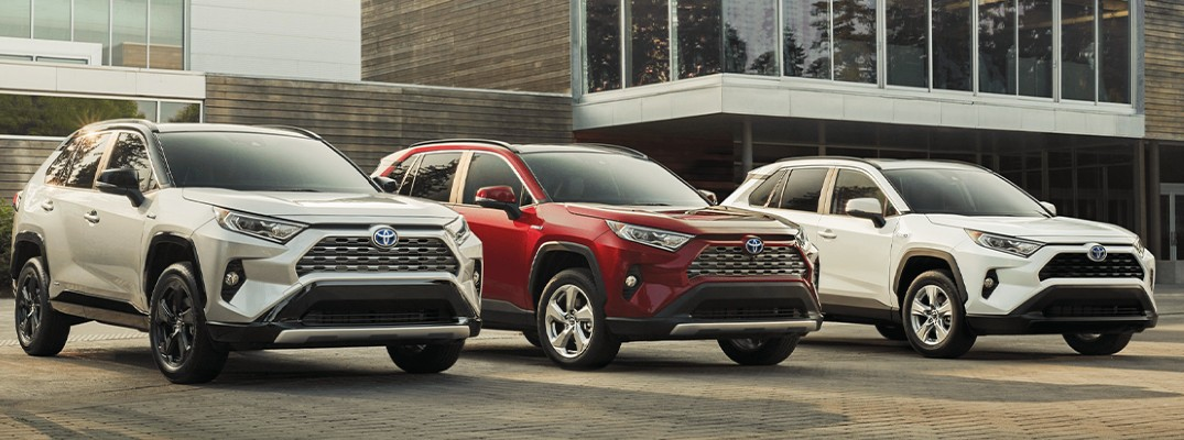 Lineup of three 2020 Toyota RAV4 Hybrid models