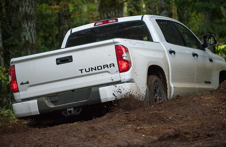 A rear photo of the 2020 Toyota Tundra crossing a dirt trail in the woods.