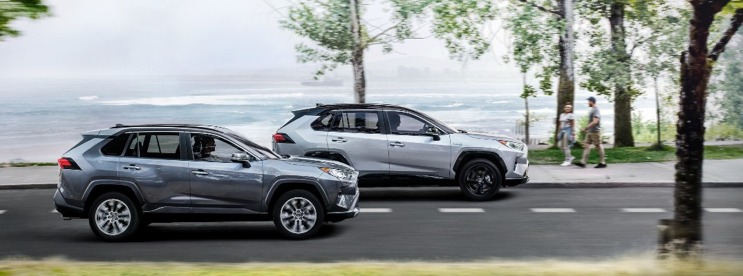 A photo of two 2020 Toyota RAV4 models in motion on the road.