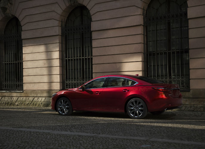 Rear End and Side View of 2018 Mazda6 in Red