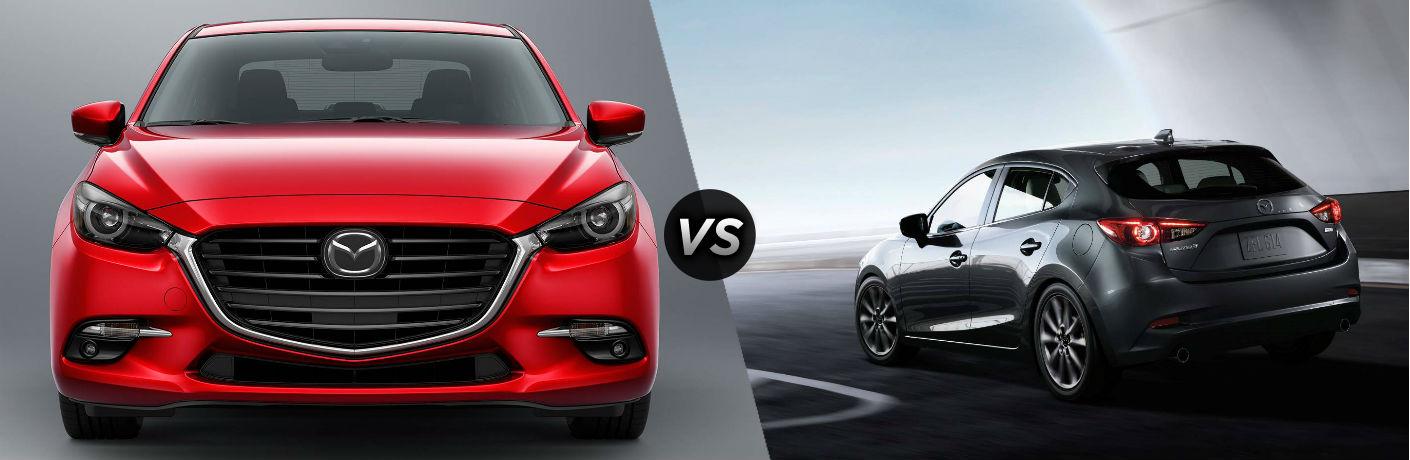2018 Mazda3 4-Door in Red vs 2018 Mazda3 5-Door in Gray