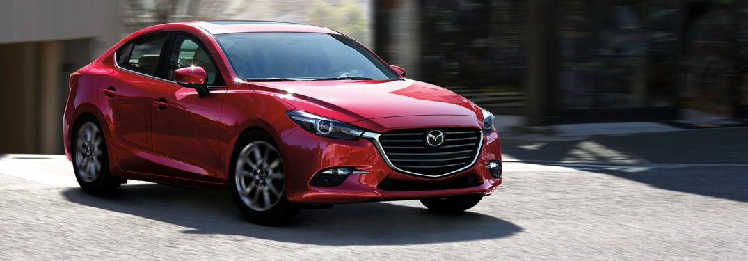 red 2018 Mazda3 front side view