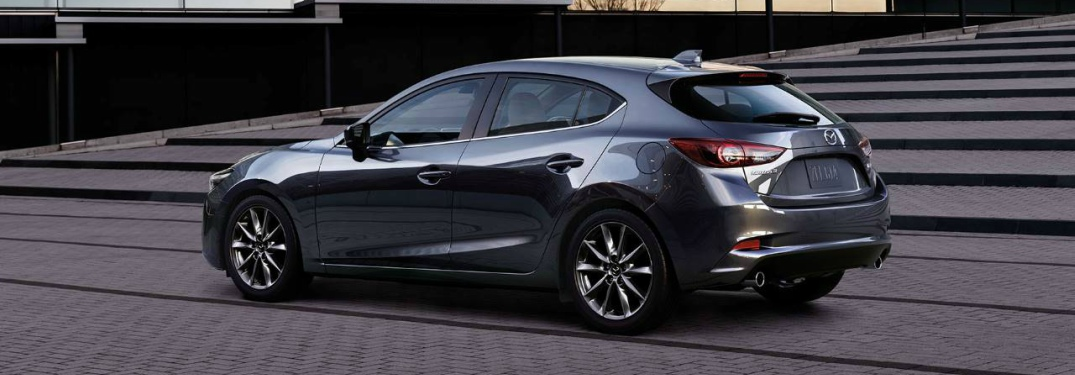 gray 2018 Mazda3 5-Door back side view