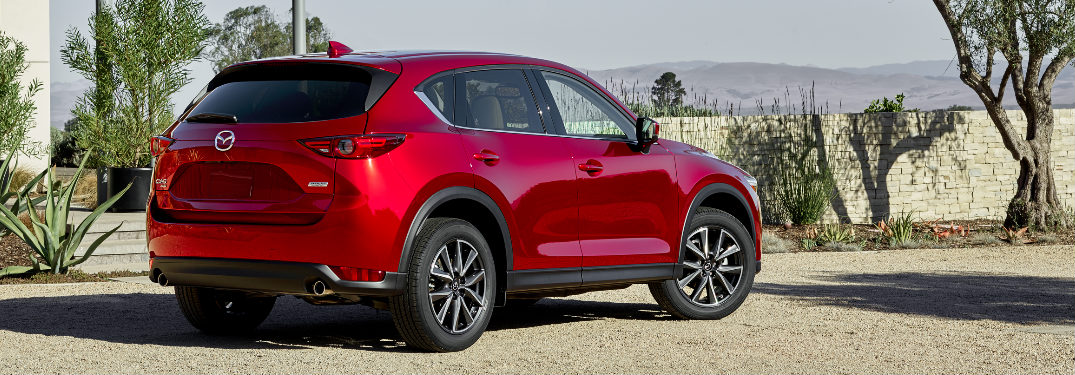 red 2018 Mazda CX-5 rear view in desert