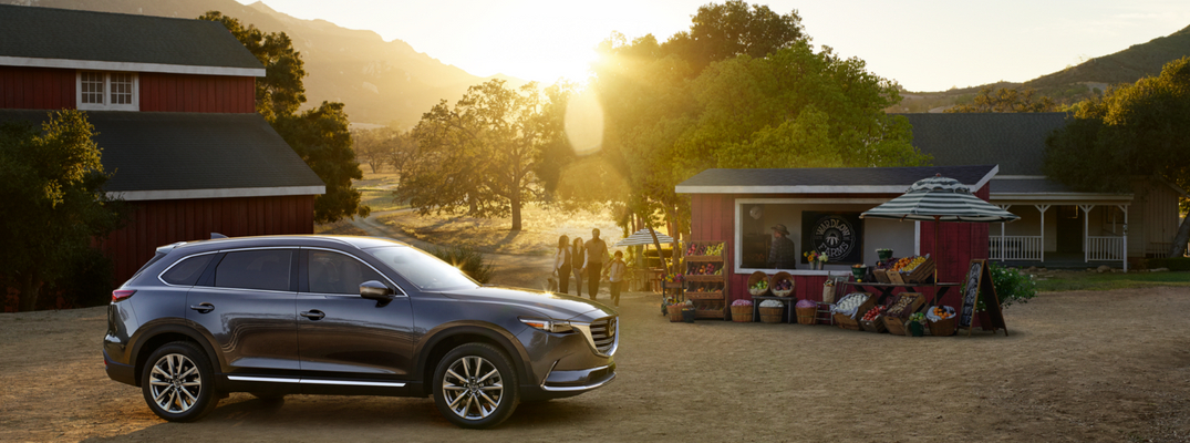 2018 Mazda CX-9 with Rural Scenery and Sunset