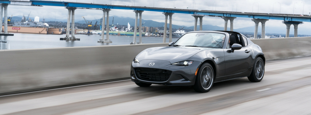 2019 Mazda MX-5 Miata RF Side View of Gray Exterior
