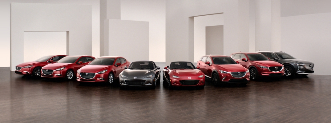New Mazda Models in Red and Dark Gray Exteriors
