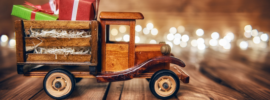 Wooden Toy Truck With Presents in the Bed
