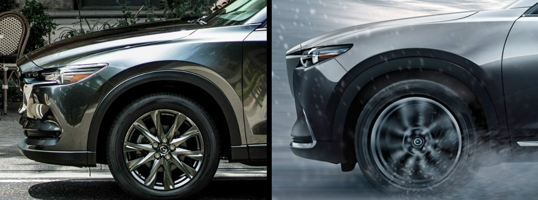 2019 Mazda CX-5 on the left and 2019 Mazda CX-9 on the right