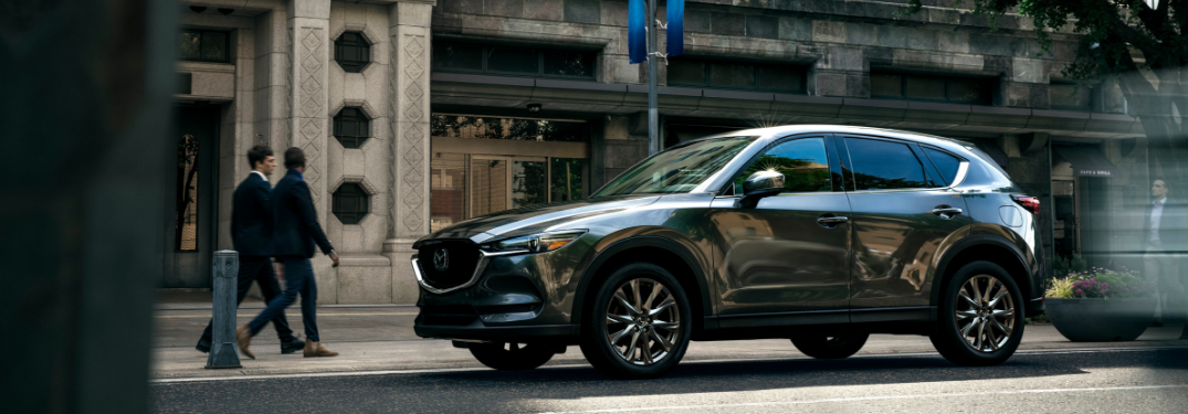 front and side view of gray 2019 mazda cx-5