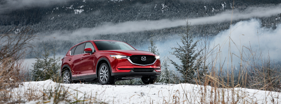 front and side view of red 2019 mazda cx-5