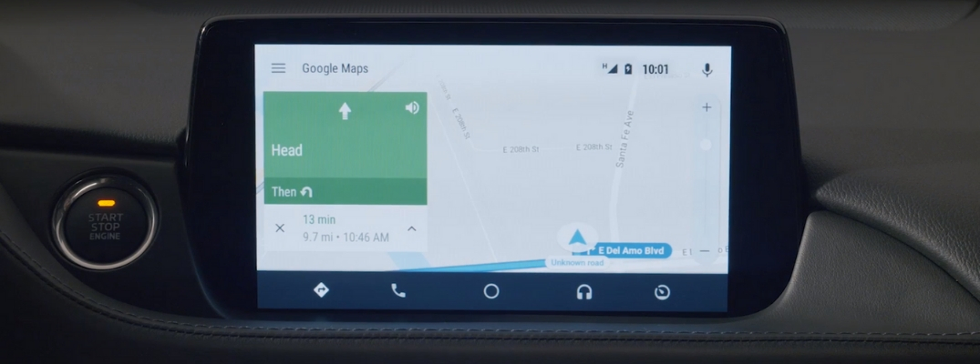 Navigation via Android Auto in a Mazda Car