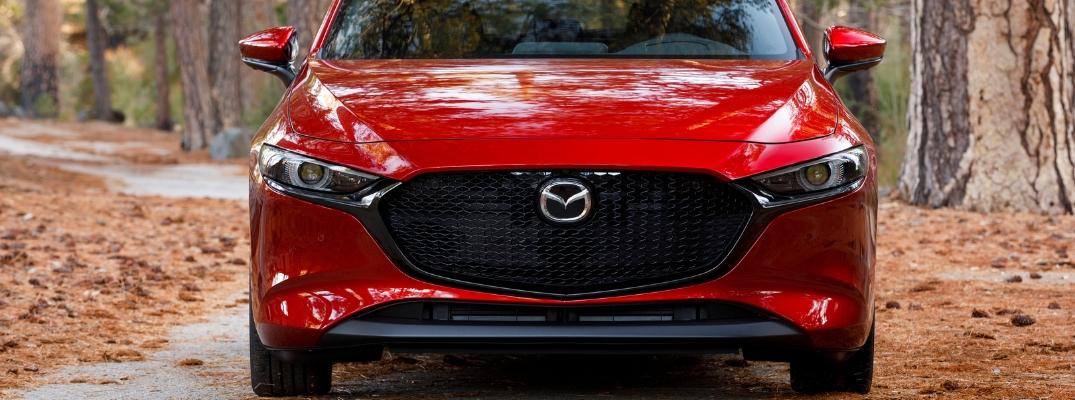 Front view of red 2019 Mazda3