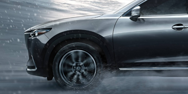 Closeup of 2019 Mazda CX-9 wheel stopping