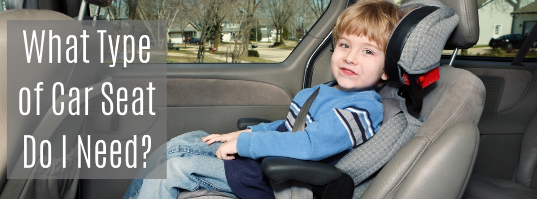 "Boy in front-facing car seat with ""What Type of Car Seat Do I Need?"" white text"
