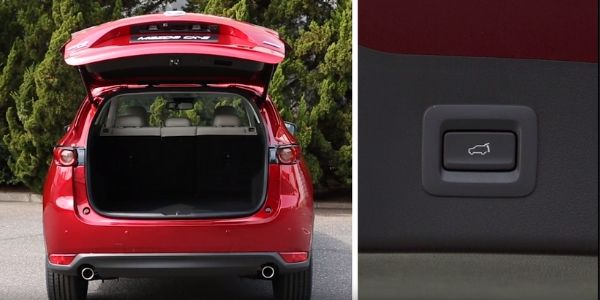 Screenshot from Mazda Europe Youtube video of red Mazda CX-5 with liftgate open and closeup of liftgate button