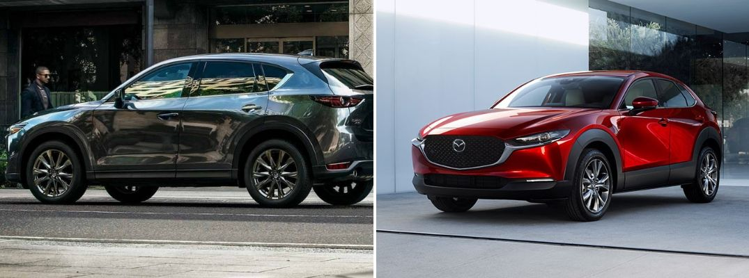 Grey 2019 Mazda CX-5 and red 2020 Mazda CX-30