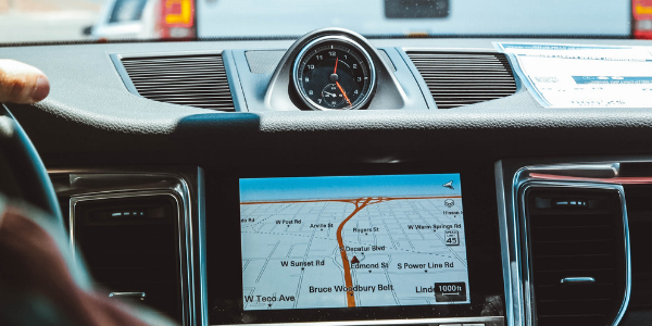 Generic vehicle interior with navigation on infotainment display
