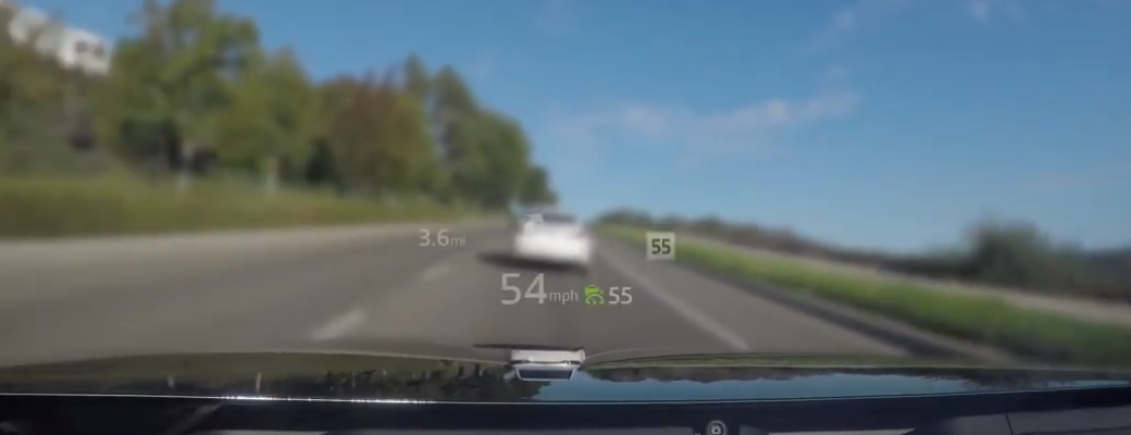 Active Driving Display in Mazda vehicle projecting vehicle speed