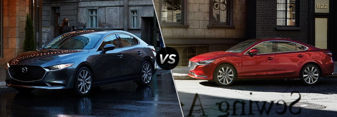 Front driver angle of a blue 2019 Mazda3 sedan on left VS front driver angle of a red 2019 Mazda6 on right