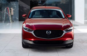 Front of red 2020 Mazda CX-30