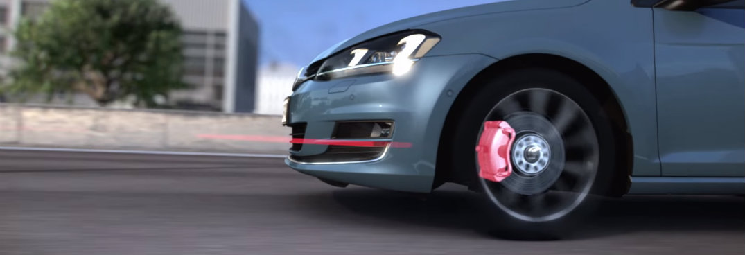 vw golf with autonomous emergency braking system and forward collision warning