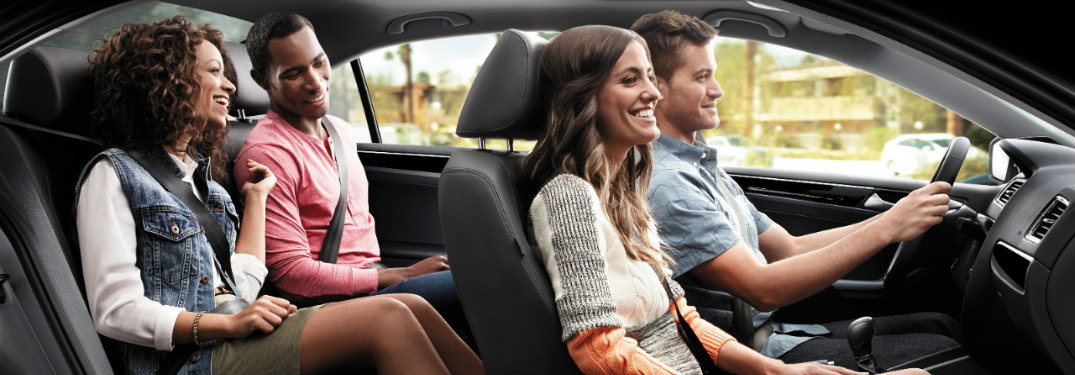 2017 VV Jetta passengers enjoying the leatherette interior